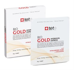 Tete Cosmeceutical Bio Gold Hydrogel Mask with Hyaluronic Acid & Collagen – Коллагеновая маска с коллоидным золотом для экспресс-ухода, саше 4 шт. - фото 14326